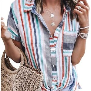 Women's Multi-Colored Button-Up Blouse